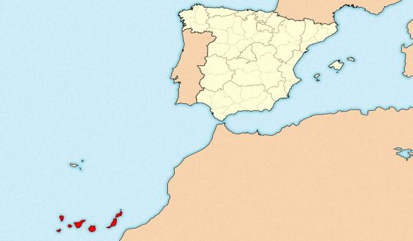 Канарские острова на карте мира